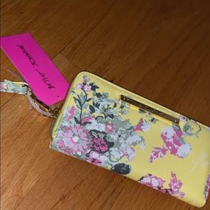 NWT Betsey Johnson floral yellow wristlet